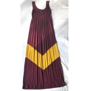 Burgundy & Yellow Stretchy Midi Dress